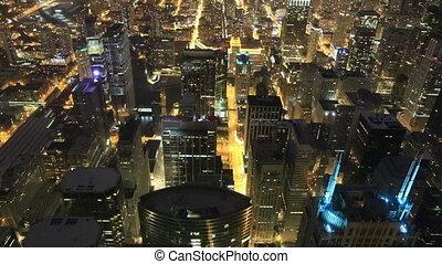 horizon, nuit, aérien, chicago
