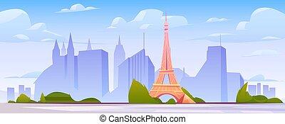 horizon, paysage, paris france, fond, ville