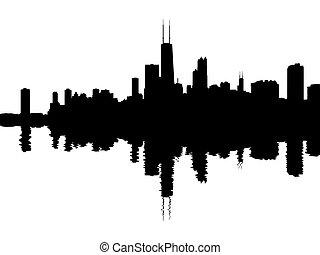 horizon, reflété, chicago