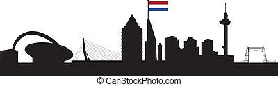 horizon, rotterdam, drapeau, hollandais