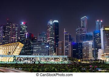 horizon, singapour, cityscape, ville, downtown., nuit, urbain