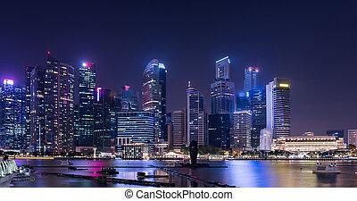 horizon, singapour, urbain, downtown., nuit, cityscape, ville
