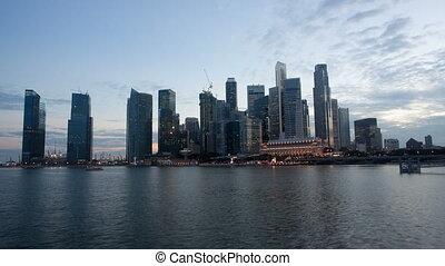 horizon, singapour, vidéo, scène, nuit