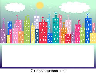 horizon ville, coloré