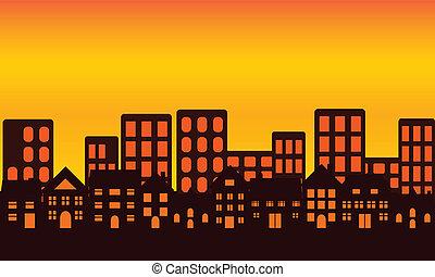 horizon ville, coucher soleil