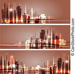 horizon ville, illustration, nuit