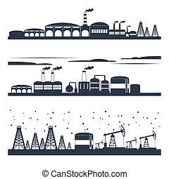 horizon ville, industriel, bannières
