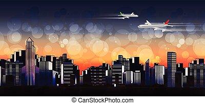 horizon ville, moderne, coloré