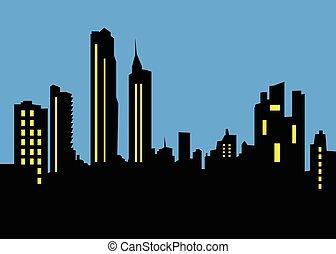 horizon ville, paysage, nuit