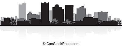 horizon ville, silhouette, phénix