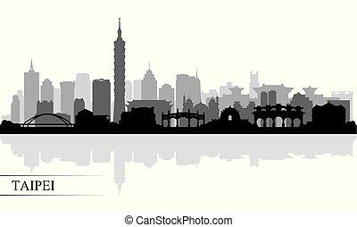 horizon ville, silhouette, taipei, fond