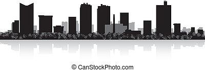 horizon ville, silhouette, valeur, fort