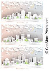 horizons, ensemble, lune, juneau, style, anchorage, alaska, alabama, flocons neige, ville, papier, néon, birmingham, usa, alaska, garland., coupure