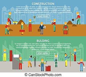 horizontal, bannière, bâtiment, ensemble, plat