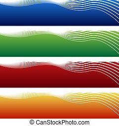 horizontal, bannière, vague