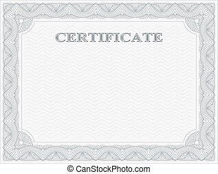 horizontal, certificat, gabarit