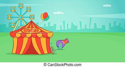 horizontal, cirque, style, dessin animé, bannière