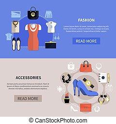 horizontal, ensemble, bannière, vêtements