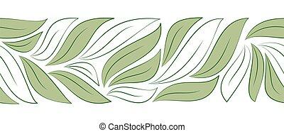 horizontal, feuilles, seamless, frontière