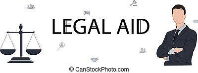 horizontal, justice., balances, bannière, avocat