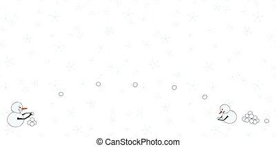 horizontal, neige, snowmen, frontière, flocons neige, vecteur, baston, jour, boule de neige