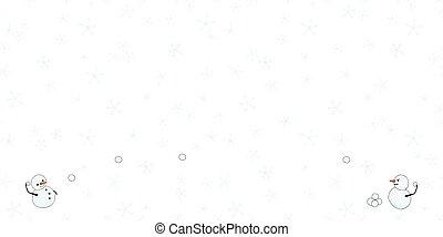 horizontal, neige, snowmen, frontière, flocons neige, vecteur, baston, jour, boule de neige, bonhomme de neige