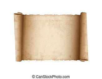 horizontal, papier, vieux, rouleau
