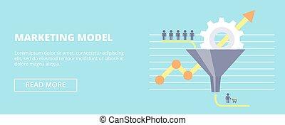 horizontal, plat, entonnoir, customers., commercialisation, couler, ventes, illustration, vecteur, modèle, bannière, ton, design.