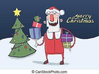 horizontal, rigolote, claus., illustration., coloré, arbre, caractère, porte, space., dessin animé, présente, boîtes, vecteur, night., santa, sourire, copie, lettering., noël carte
