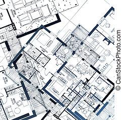 horizontal, vecteur, illustration, blueprint.