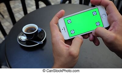 horizontalement, étiquettes, écran, téléphone, iphone, jeux, blanc, vert, jouer