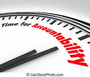 horloge, accountability, responsabilité, prendre, mots, temps
