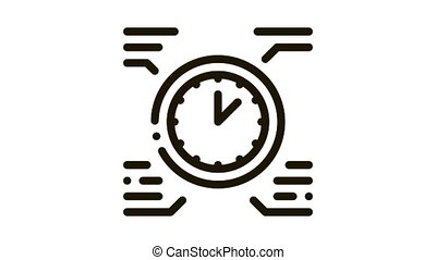 horloge, animation, icône, temps, sain, vie