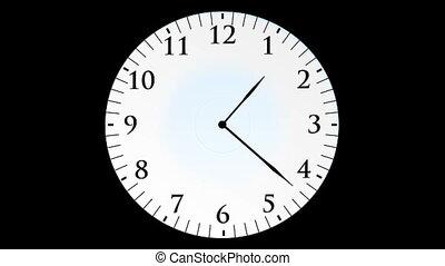 horloge, animation, secondes, sans, fond, noir, temps, hd