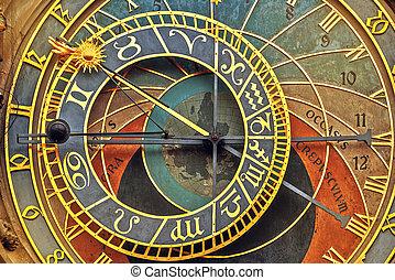 horloge, astronomique, détail, devant, prague, vue