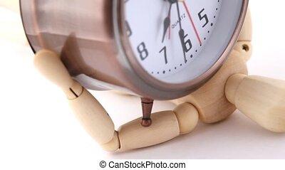 horloge, bois, reveil, poupée, bas, presse