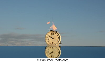 horloge, brûlé, miroir