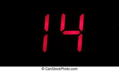 horloge, couleur, zero., sur, minuteur, compte rebours, arrière-plan., noir, numérique, seize, rouges
