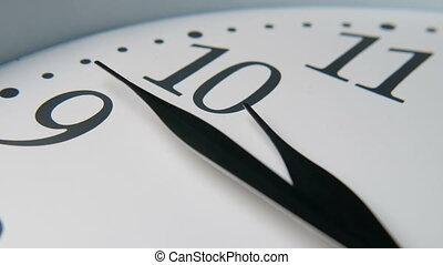 horloge, fast., en mouvement, trois, élevé, retro, heure, cadran, mains, ten., spectacles, flèche