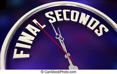 horloge, final, temps, 3d, illustration, date limite, mots, secondes, compte rebours