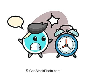 horloge, géant, dessin animé, surpris, autocollant, reveil