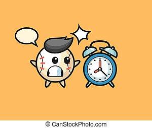 horloge, géant, dessin animé, surpris, base-ball, reveil