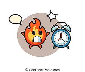 horloge, géant, dessin animé, surpris, brûler, illustration, reveil