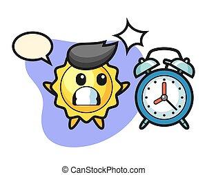 horloge, géant, dessin animé, surpris, soleil, reveil
