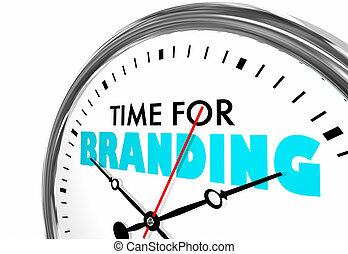 horloge, marquer, temps, illustration, mots, commercialisation, identité, 3d