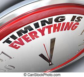 horloge, ponctuel, tout, mots, synchronisation, vitesse