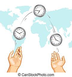 horloge, projection, temps, jonglerie, international, main