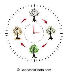 horloge, résumé, year., saisons, projection, changement