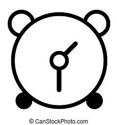 horloge, reveil, arrière-plan., vecteur, noir, blanc, icône