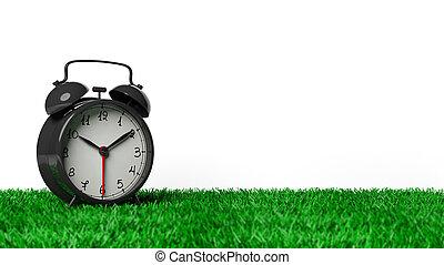 horloge, reveil, isolé, herbe, arrière-plan., noir, retro, blanc